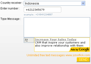 Kirim SMS Gratis Melalui Internet